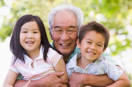 Grandfather with grandkids